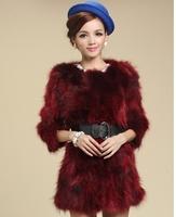 New arrival womens fashion fur coat real raccoon fur coats outerwear medium-long three quarter sleeve fur coat hot sale
