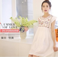 2014 Fashion women cotton maternity clothing short sleeve embroidery white loose casual dress korean maternity clothes