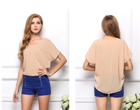 20 Colors Short Sleeved Shirt Women Blouse Loose Perspective Chiffon Blouses Pullover Summer Tops Plus Size Women Clothing A