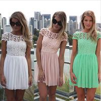 2014 Free Shipping New Fashion Women Summer Lace Patchwork Charming Backless Dress Short Chiffon Mint Green Tops Dress HHY8012LQ