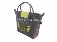 Fashion Women Felt Wristlets Handbag Multi Interior Pockets Shopping Bags with Cat Owl Pattern GOOD BULK PRICE