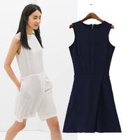 Women jumpsuits 2014 summer overalls new macacao feminino irregular sleeveless high waist one piece pants culottes casual loose
