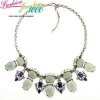 Exquisite Vintage Design Green Flower Stone Collar Bib Necklace Fashion Pendants Statement Choker Charm Jewelry For Women Party