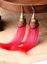 0218 Yunnan Ethnic jewelry wholesale temperament female characteristics Miaoxiu earrings long earrings wedding dance YC364(China (Mainland))