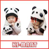 Free Shipping Super Cute And Warm Children Wool Panda Cap Match Scarf ,Cartoon Hat with Scarf(1Set =1 Cap+ 1 Scarf) KM1004