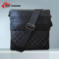 Lowest price 2014 New Genuine PU Leather Men Bag Plaid Fashion Men Messenger Bag Business crossbody shoulder Bags free shipping