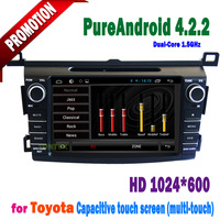 "2 din 8"" HD pure android 4.2.2  Capacitive touch screen Radio GPS WIFI 3G BT DVD car dvd player  for Toyota RAV4 2013 with SWC"