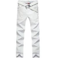 hot!2015 new fashion men's white jeans famous brand slim straight cotton denim elastic trousers designer jeans man large size 38