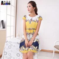 Ajiduo 2014 Summer Women Chiffon Short-sleeve Floral Print Dress Elegant Peter Pan Collar Girl Print Dress Brand Yellow