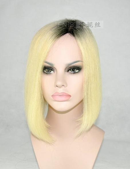 quente novo dois tons 1b/613 100% peruca dianteira do laço peruca do cabelo humano, 12 polegadas zyj-001(China (Mainland))