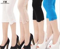 Black white beige blue Plus Size Women Leggings Fitness Female Mid Calf Knitted Lace Trim Legging Pants For Ladies SS14P002