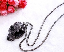 Strass cameo skull pendant long necklaces female/hot steampunk hiphop hippie rock collares vintage necklace women/colar caveira