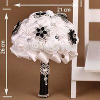 Free shipping wedding  bouquet  bride hand satin flower black diamond romantic take photo props , lucky bridesmaid flower