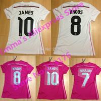 2015 Real Madrid Women Soccer Jersey Home Away football kits KROOS RONALDO BALE James Rodriguez Real Madrid Women football shirt