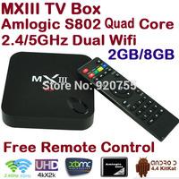 Newest MXIII Andriod TV Box Amlogic S802 Quad Core 2GB 8GB 2.4G/5G Dual Wifi Mali-450 GPU Android 4.4 KitKat XBMC TV Box MX III