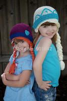 2014 New Handmade Crochet Frozen Hat, Elsa and Anna Beanie Twins Frozen Hat Sister Frozen Character Hat