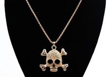 Punk srtass bone skull pendant long necklace steampunk hip hop jewelry collier women fashion 2014 collares