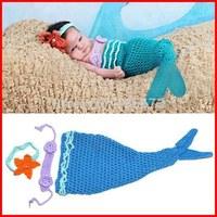 Handmade Cartoon Cute Blue Mermaid Infant Hat Newborn Baby Girl Crochet Beanie Toddler Knitting Props Photography Costume Set