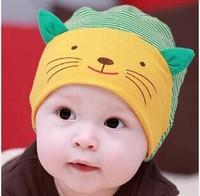Lovely Stripe Kitty Infant Beanies Kids Cotton Caps Children Hats Boys & Girls Skull Cap