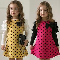 Polka Dot Princess Girls Dress Children's Clothing 2014 New Arrivel Cotton Marerial Soft Sweet Lolita Style Lovely Suit European