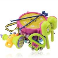 Children music toys Musical instrument Drum / Handbell / Trumpet / Sand hammer /Drum Sticks Baby Gift 5pcs/lot free shipping