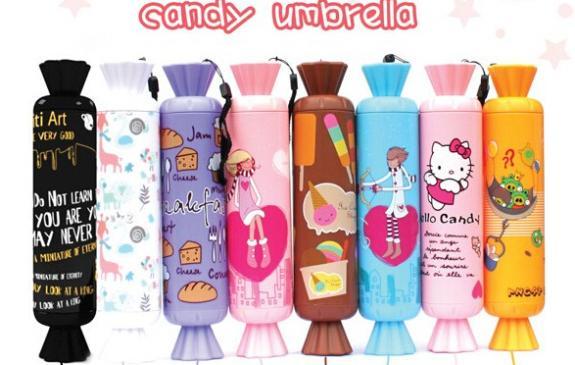 2015 new arrival kids folding Creative candy umbrella children's cartoon umbrella sunny and rainly umbrella(China (Mainland))