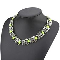 2014 new design high fashion ZA brand jewelry necklace for women resin stone crystal choker bib statement female necklace