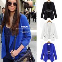 Blazer Women 2014 New Brand Blazer Jacket Genuine Personality Zipper Pocket Solid Slim Small Suit Jackets Free Shipping E1479