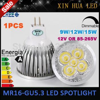 MR16 GU5.3 110V 220V 12V LED Light Bulb 9W 12w 15w High Power mr 16 3x3W LED Spot Light Bulb Lamp White/Warm White Bulb lamp(China (Mainland))
