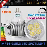MR16 GU5.3  110V 220V  12V LED Light Bulb  9W 12w 15w  High Power mr 16 3x3W LED Spot Light Bulb Lamp White/Warm White Bulb lamp