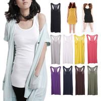 2014 New Fashion Women Fashion Y-shaped Long Vest Halter Tank T-shirt Mini Dress Top for woman