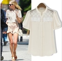 Hot sale 2014 Summer NEW STYLE Fashion Women Clothing round collar Short sleeve chiffon Tops Solid Color lace casual blouse B237