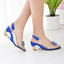 2015 Hot Sale Crystal Wedges Transparent Women high-heeled Sandals Plus Size 40-43 rhinestone Peep Toe Jelly Shoes(China (Mainland))