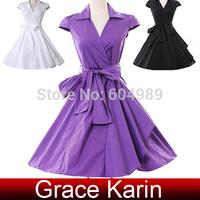 2015 Women Summer Dress Cap Sleeve Black/White/Purple Short 50s 60s Vintage Retro Dress Pinup Rockabilly Swing Dresses CL6087