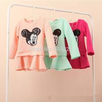 New 2014 Minnie Mouse Children Dresses One-piece Girls Dresses Babies Casual Dress Bling Bling Autumn Dress Kids Fall Clothes