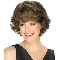 Free Shipping 2014 Stylish 28cm Synthetic Kanekalon Women's Dark Brown Short Curly Wig