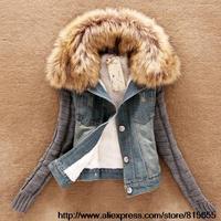 2014 new women's spring Autumn short denim jacket women winter slim yarn large fur collar lamb cotton denim outerwear jeans xxl