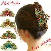 European Trending Court Retro Vintage Hair Jewelry Claw Rhinestone Coloured Glaze Hair Claw Sticks Large Free Shipping