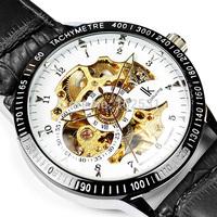 2014 IK Christmas Gift Self Winding White & Golden Movement Mechanical Men Skeleton Leather Hand Watch