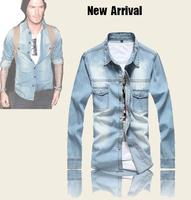 2014 new men's brand fashion denim shirts casual beckham shirts long sleeve jeans shirt for man size XXL slim fit camisa