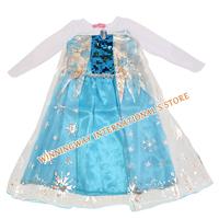 Hot selling retail 2014 new dress girl summer frozen princess gauze dress Girl dresses long-sleeved frozen dress