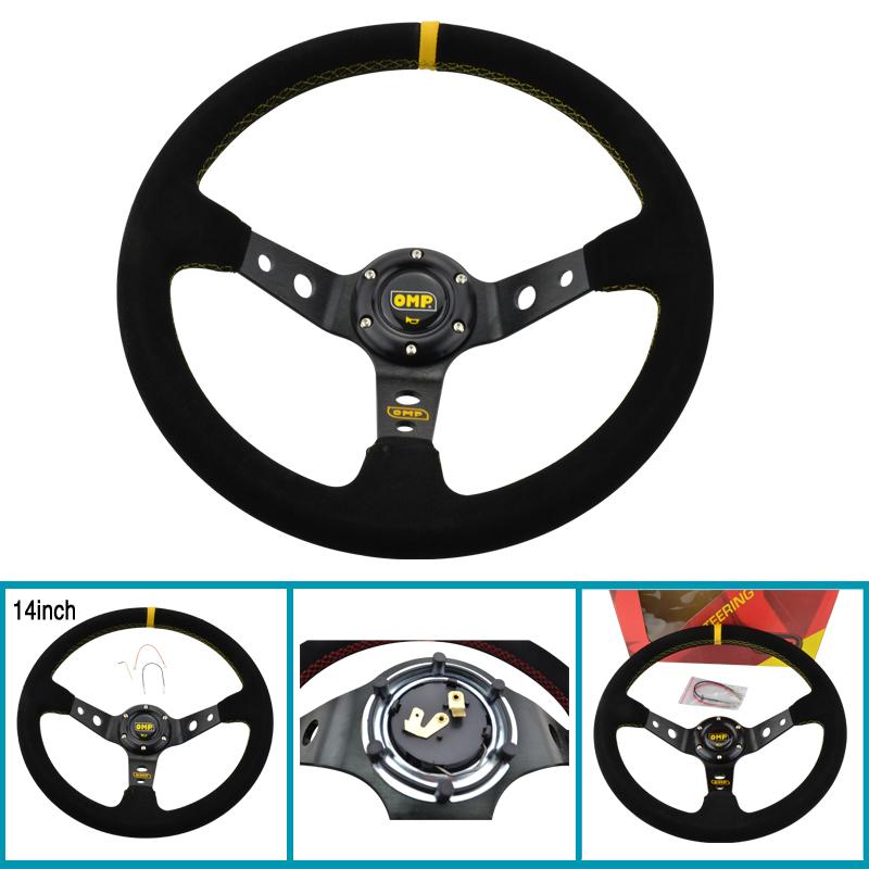 Racing Universal 14inch 350mm OMP yellow line Steering Wheel Deep Corn Drifting Suede Leather(China (Mainland))
