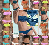 2014 Fashion Brand Tassel Bra Woman Sexy Bikini Set PAD Swimsuits Sport Fringe Top Swimwear Beachwear