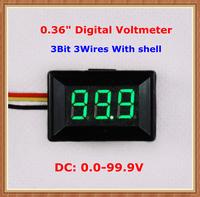 """Green Display led Color DC0-100V with shell 0.36"""" Digital Voltmeter 3 wires 3bit Voltage Meter [10 pcs/lot]"""