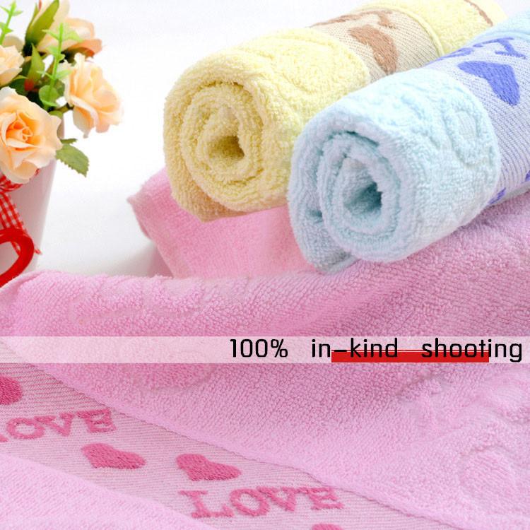 ( Mix Min order $10 )New 2015 100% Cotton LOVE Heart Towels Face Towel Bath Towels Beach Towels 33*73cm Color Mix #1308(China (Mainland))