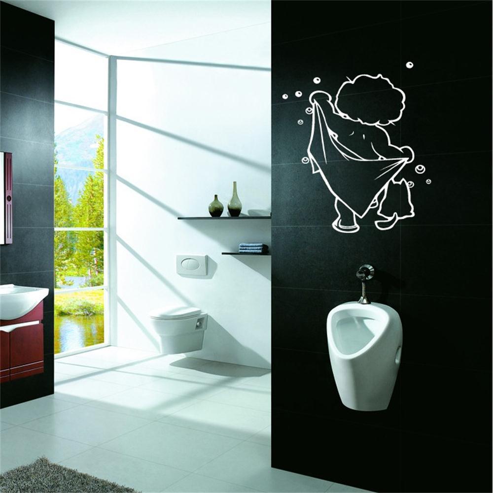 8217 belle b b prendre une douche sticker mural salle de for Porte gel douche mural