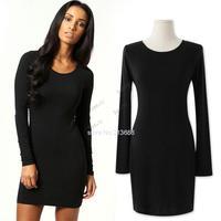 2014 Brand New Spring Summer Fashion ladies Solid color Long Sleeve Round Collar Bodycon Mini Slim Dress B12 SV006141