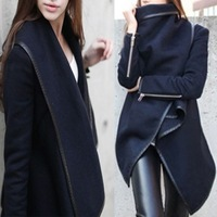 High quality! Plus size XXL Long Zipper Jacket O-neck Solid 2015 New Style Winter Women Overcoat Trench lady Coats