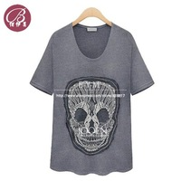 ZQ8815 Free Shipping Women's 2014 Summer Fashion Casual Skull Loose Short-Sleeved Cotton Shirt