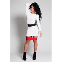 2014 Hot New Style 2 Piece Bandage Bodycon Dress,Celebrity Long Sleeve Dress,Sexy Backless Club Dress,XG033